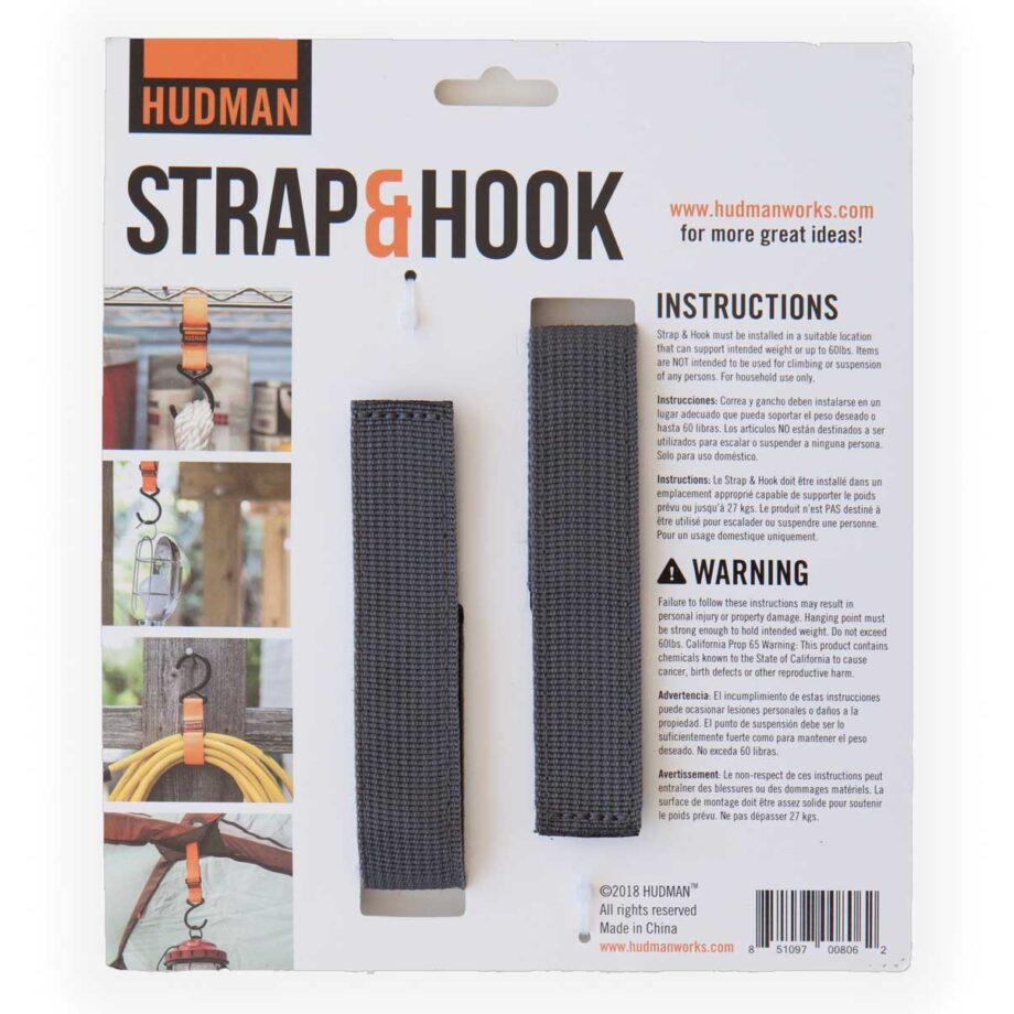 """Hudman Strap & Hook 10"""" gray package back"""