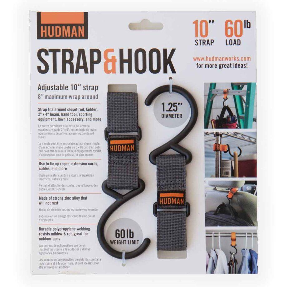 """Hudman Strap & Hook 10"""" gray package front"""