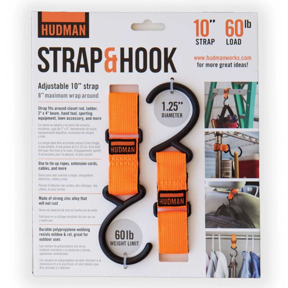 """Hudman Strap & Hook 10"""" bright orange package front"""