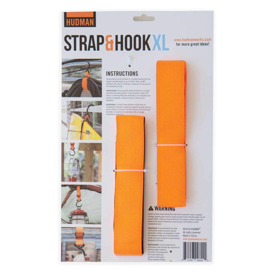 """Hudman Strap & Hook 50"""" bright orange package back"""