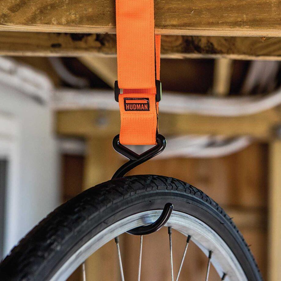 Use the Hudman Strap & Hook to hang bikes