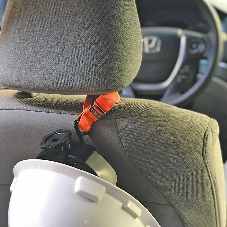 Use the Hudman Strap & Hook in your car to hang hats & helmets