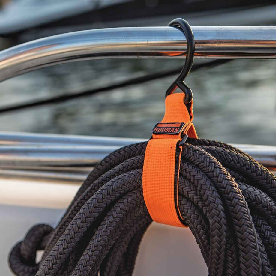 Use the Hudman Strap & Hook to hang rope line on sailboats