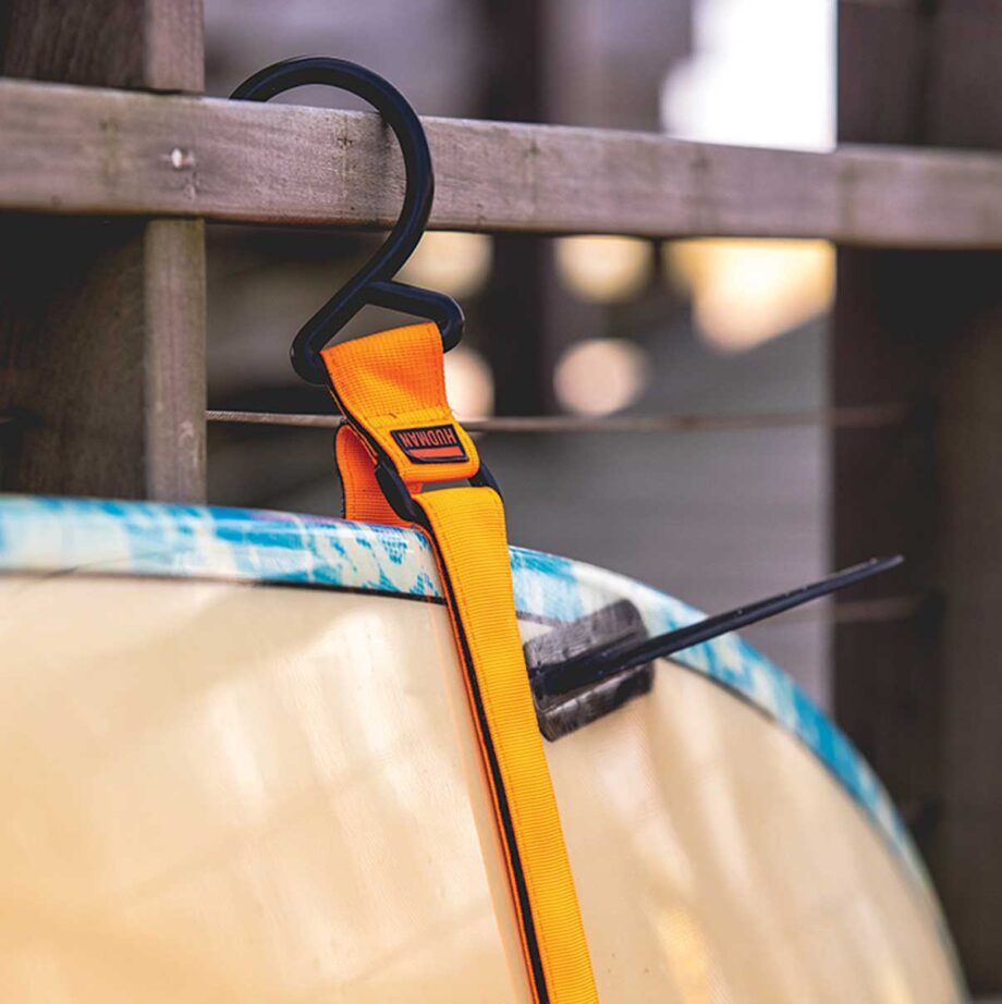 Use the Hudman Strap & Hook to hang a surfboard