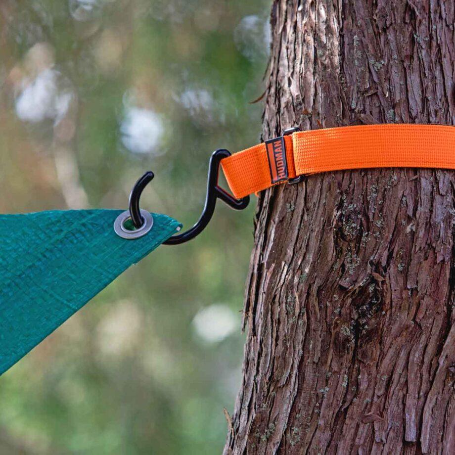 Use the Hudman Strap & Hook around trees to hang tarp