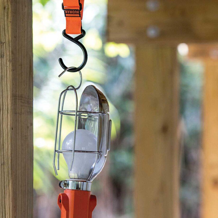 Use the Hudman Strap & Hook to hang task lights