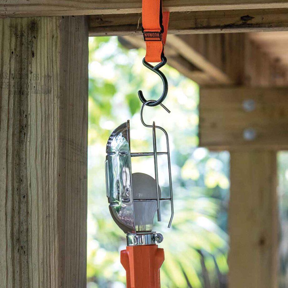 Use the Hudman Strap & Hook to a hang task light
