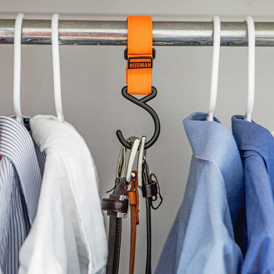 Use the Hudman Strap & Hook to organize closet hand belts