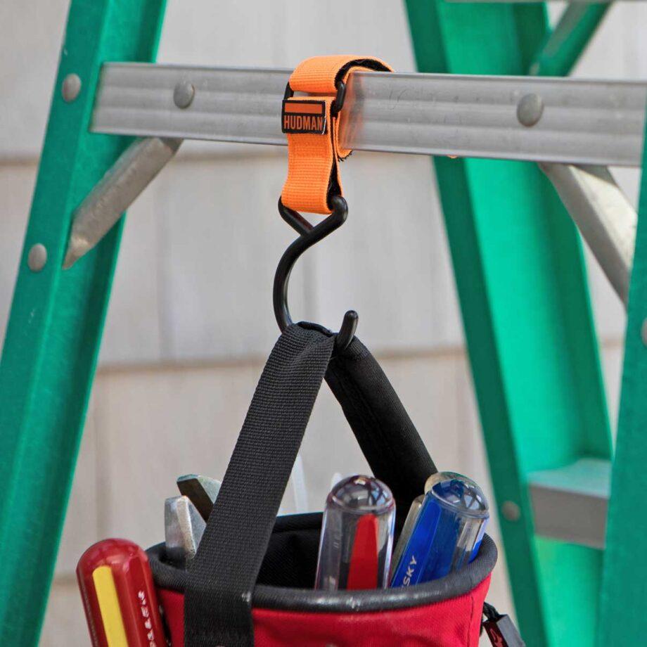 Use the Hudman Strap & Hook to hang tools off ladder